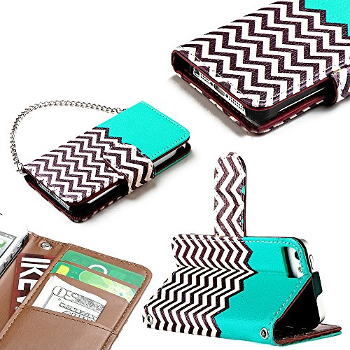 Mylife Sea Breeze Blue Zig Zag Chevron Design - Textured Koskin Faux Leather (Card And Id Holder + Magnetic Detachable Closing) Slim Wallet For Iphone 5/5S (5G) 5Th Generation Smartphone By Apple (External Rugged Synthetic Leather With Magnetic Clip + Int
