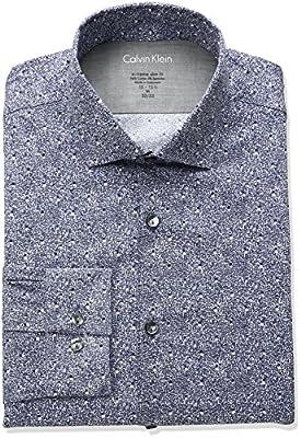 Calvin Klein Men's Stretch Xtreme Slim Fit Heathered Print Spread Collar Dress Shirt