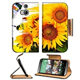 HTC One M8 Flip Case hand paint picture with sunflowers IMAGE 27372920 by MSD Customized Premium Deluxe Pu Leather generation Accessories HD Wifi Luxury Protector