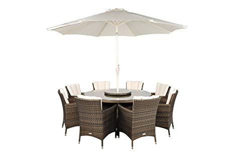 Savannah Rattan Garden Furniture 8 Seat Round Glass Top Table Dining Set with Free Parasol with Base, Dust Cover, Cushions & 1 Yr Warranty