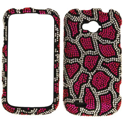 Cell Armor Snap-On Cover for ZTE Savvy - Retail Packaging - Full Diamond Crystal, Pink Leopard Print