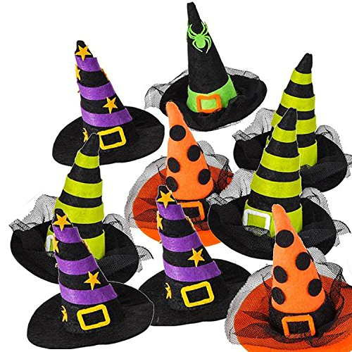 Halloween Party Supply Set 3.5-Inch Witch Hat Hair Clip, 4-Pack