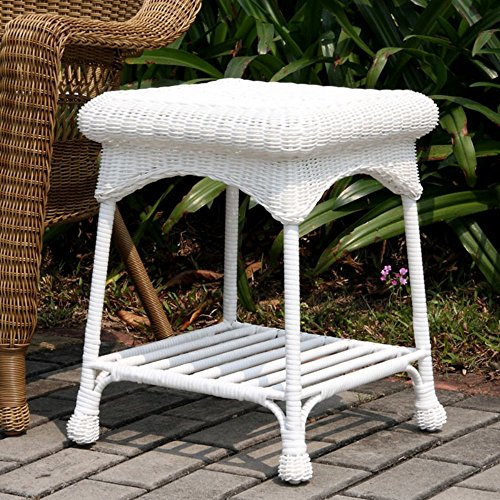 Jeco Jeco Outdoor Wicker Patio Furniture End Table, White, Wicker picture