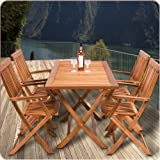 Wooden garden furniture set table chairs set tropical acacia wood dining furniture