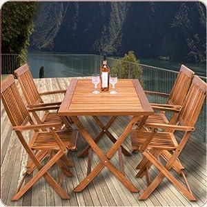 Sitzgruppe 5tlg SYDNEY Sitzgarnitur Gartengarnitur Holz 4 Stühle 1 Tisch