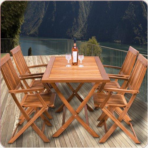Sitzgruppe 5tlg SYDNEY Sitzgarnitur Gartengarnitur Holz 4 Stühle 1 Tisch bestellen