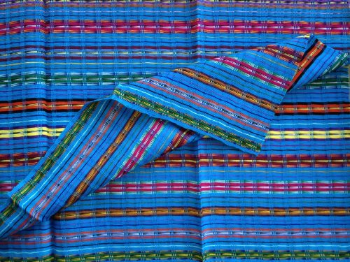 Short Multicolor Blue Headwrap Handwoven Lightweight Cotton Gauze Hair Scarf Bandana Hair Tie front-434618
