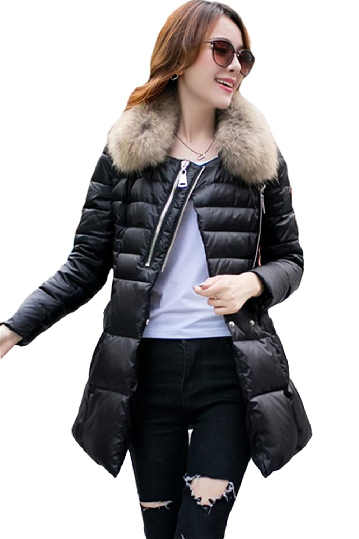 queenshiny Damen Lange Daunenjacke Mantel Jacke mit Waschbär Pelz Kragen Mode Winter bestellen