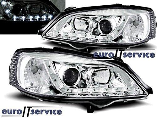 TOP SET HEADLIGHTS LAMPS LPOP37 OPEL ASTRA G 09.1997-02.2004 DAYLIGHT CHROME (Opel Astra G Headlights compare prices)