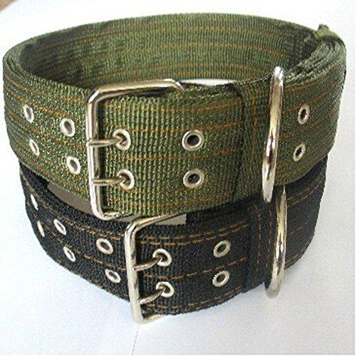 Pesp® Pet Dog Metal Buckle 2-rows Army Green Nylon Fabric Belt Strap Adjustable Collar X-Large XL