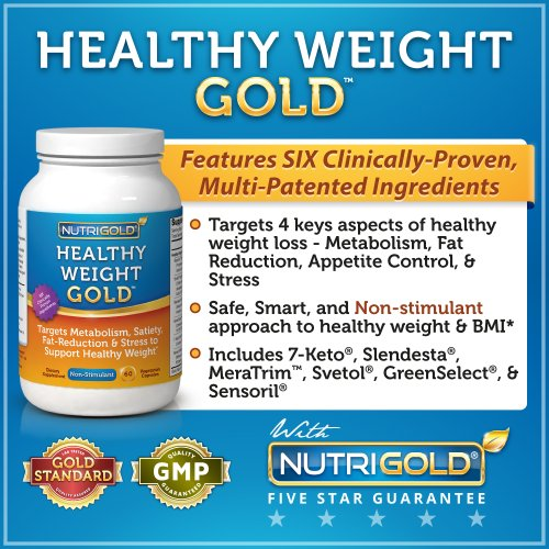 NutriGold Healthy Weight Gold, 500mg, 60 Vegetarian Capsules (#1 Weight-loss Supplement with SIX Clinically-proven Multi-patented Ingredients)