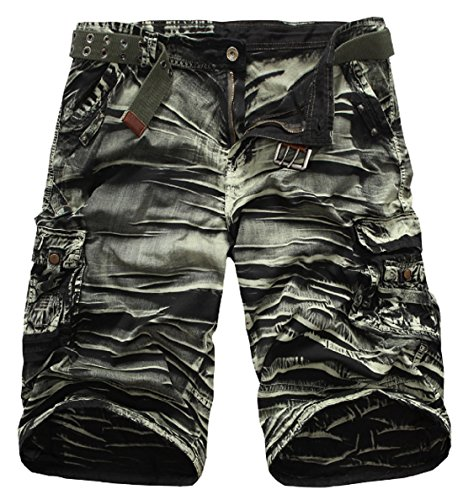 XueYin Men's Cotton Classic Cargo Short(Army green Camouflage,36 size) Army Camouflage Shorts