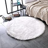 LEEVAN Super soft Faux Fur Sheepskin Rug Shaggy Rug Round Area Rugs Floor Mat Home Decorator Carpets Kids Play Rug Ivory White, 4 ft Diameter