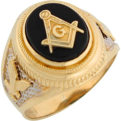 9ct Two Colour Gold Onyx Freemason Masonic Patriotic Eagle Mens Ring