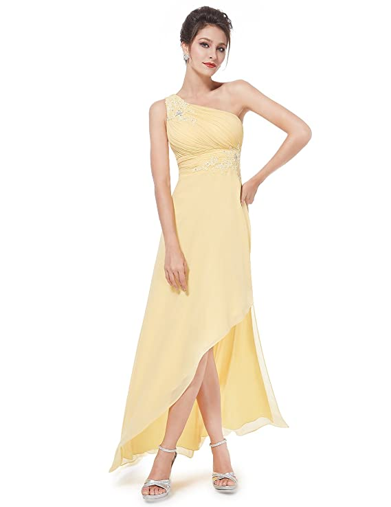 Ever Pretty Womens One Shoulder Hi-Lo Yellow Bridesmaids Dress 08433