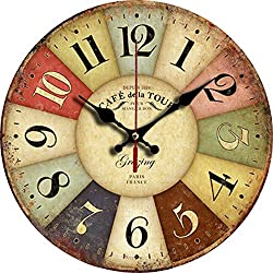 Grazing 12 Vintage Rustic Country Tuscan Style Wooden Decorative Round Wall Clock (Colorful)