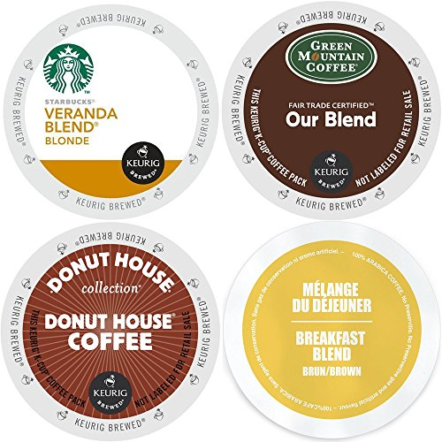 Keurig Light Roast K-Cup Coffee Variety Pack Bundle with Starbucks Veranda Blonde, Green Mountain Our Blend, Faro Breakfast Blend and Donut House - 96 Count (Keurig Fruit Drinks compare prices)