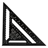 Triangle Square Ruler - Delaman Aluminum Rafter Carpenter Layout Protractor, Metric Quick Square Roofing Measuring Tool (12 inch) (Tamaño: 12 inch)