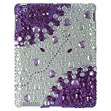 Apple iPAD i-Pad 2 II 2nd Generation 3G, Wifi Model 16GB 32GB 64GB Tablet Slate Premium Full Diamond Crystals Bling Protective Case Cover Silver with Purple Love Hearts Gemstones Design + High Quality Screen Protector