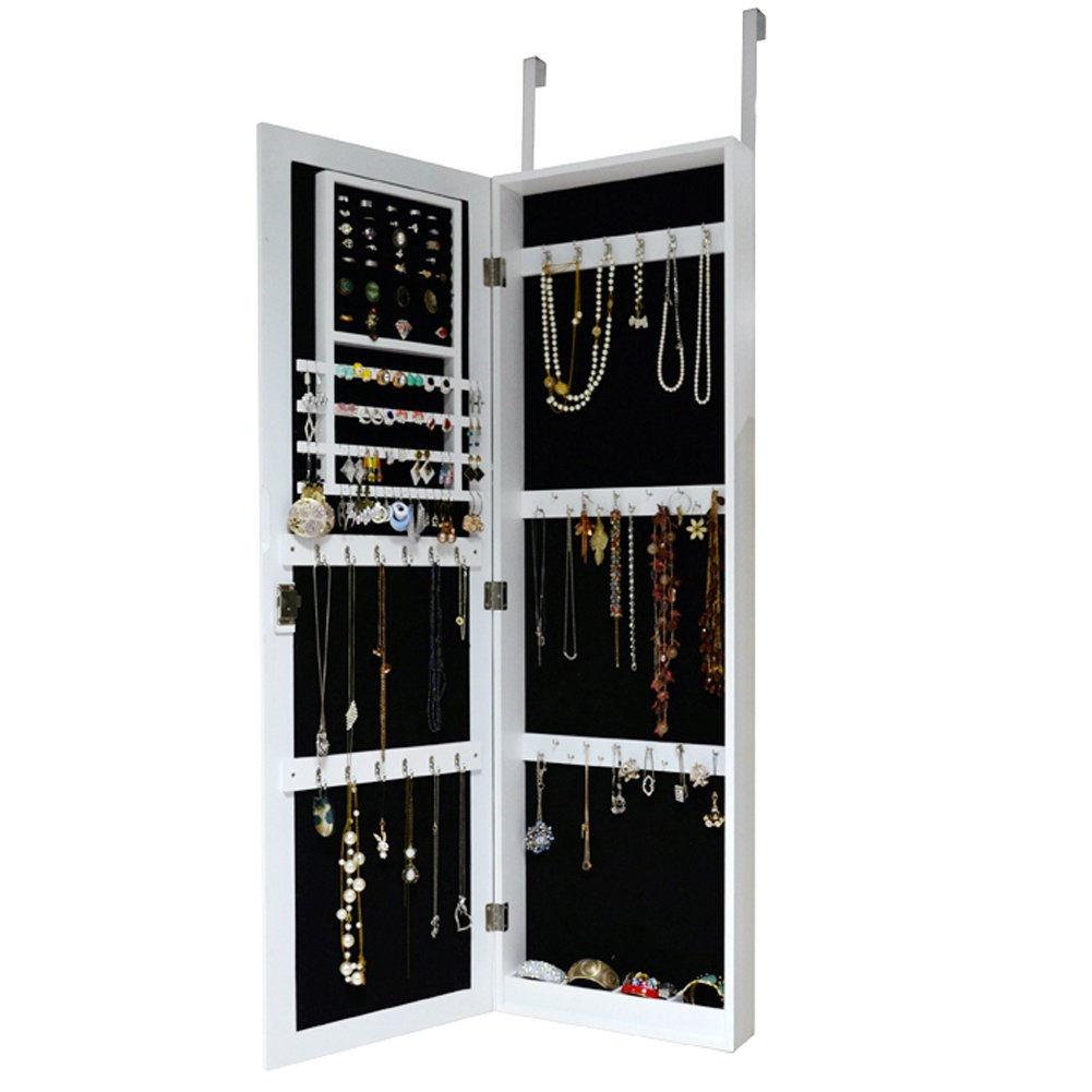 white over the door jewelry armoire with lock