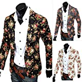 Retro Fitted Men Suit Single Button V-Collar Printed Flower Male Blazer