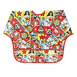 Bumkins DC Comics Sleeved Bib, Wonder Woman Comic, 6-24 Months