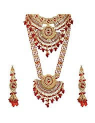 Lucky Jewellery Red Gold Plated Bridal Jewellery Set For Women