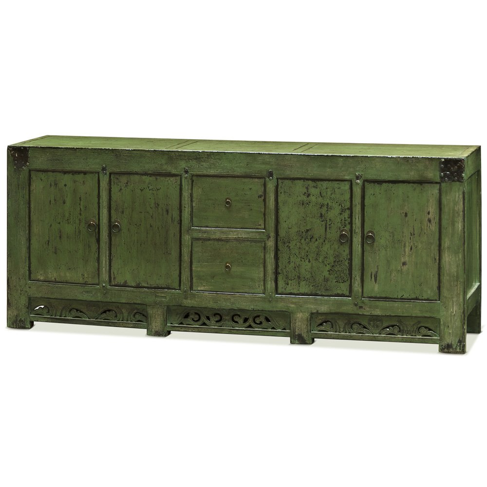 China Furniture Online Tang Style Buffet Cabinet, Solid Elm with Distressed Green Finish 0