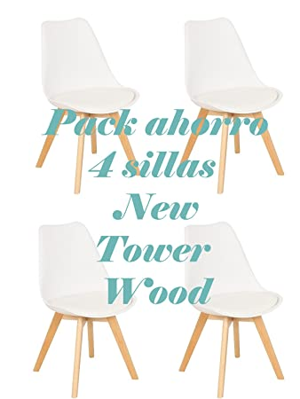 Oui Home - Conjunto 4 Sillas New Tower Wood Blancas