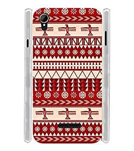 Indian Pattern Art Red Soft Silicon Rubberized Back Case Cover for Intex Aqua Power 4G