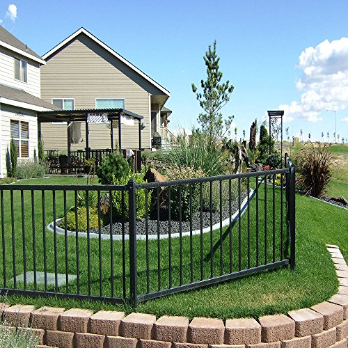 Black Wrought Iron Steel 4-feet High x 6.5-feet Wide 2-Rail Fence Panel Kit (Rail Fence Panel compare prices)