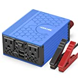 VOLTCUBE 400W Power Inverter, 12V DC to 110V AC Car Adapter with Twin 2.4A USB Ports and Two Independent AC Outlets (Blue) (Color: 400W-blue)