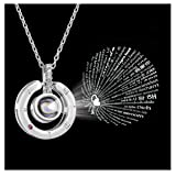 Estendly 100 Languages Necklace Round Pendant Projective Necklace I Love You Symbol of Steadfast The Memory of Love Different Languages for I Love U for Women Girls (Color: Silver Plated Round necklace)