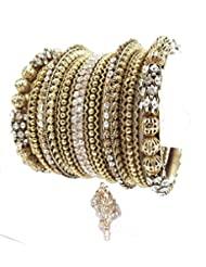 AriaBollywood Style CZ Gold Plated 18pc New Bangles For Women L37