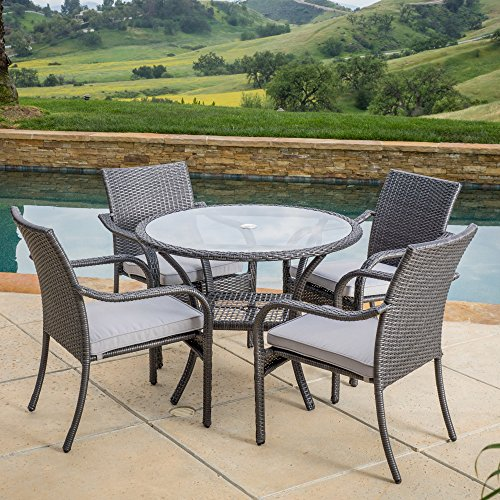 5-piece Outdoor Patio Dining Set in Grey Wicker with Metal Frames - Set Includes 1 Round Dining Table with Umbrella Hole and 4 Arm Chairs with Grey Seat Cushions