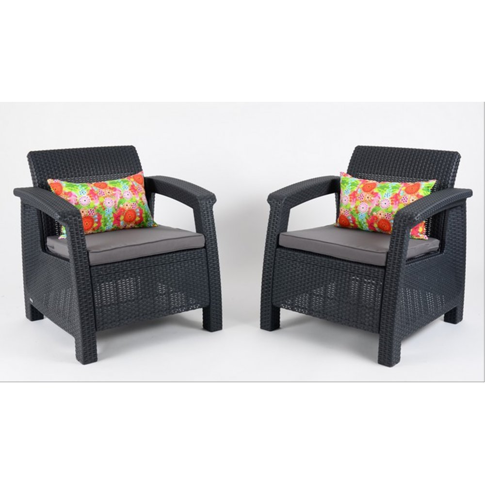 JUSThome Corfu Duo Gartenmöbel Sitzgruppe 2x Sessel in Rattan-Optik Anthrazit Grau jetzt kaufen