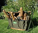 Garden Tool Storage Stool & Detachable Bag with Multiple Pockets Portable Weeding Seat (Khaki)