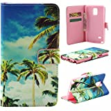 Note 4 Case,Vogue Shop Note 4 Wallet Case [Book Fold] Leather Galaxy Note 4 Cover [Flip Cover] with Foldable Stand, Pockets for ID, Credit Cards - Black Flip Case for Samsung Note 4 .Protective Samsung Galaxy Note 4 PU Leather Wallet Case with Foldable Kickstand and HD Screen Protector for Galaxy Note 4 Folio with Stand All-around TPU Inner Case and Snap Button Closure Stylish Pattern Design for Note 4 (Vogue shop-Coconut Tree)