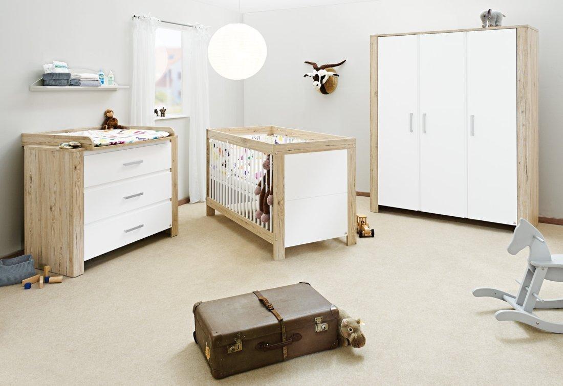 Pinolino Kinderzimmer Candeo breit groß, 3-teilig, Kinderbett (140 x 70 cm), breite Wickelkommode mit Wickelaufsatz und großer Kleiderschrank, weiß/Eiche mit Echtholzstruktur (Art.-Nr. 10 00 56 BG) günstig