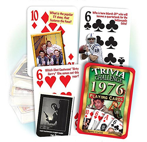 Flickback 1976 Trivia Playing Cards: 40th Birthday or 40th Anniversary Gift