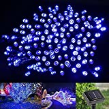 LE® Solar Powered LED Fairy String Lights 100 LEDs 55ft 17m, Waterproof, Blue, Christmas Lights with Light Sensor, Ambiance Lighting, Outdoor and Indoor Use, Wedding, Party, Halloween Lights Decoration