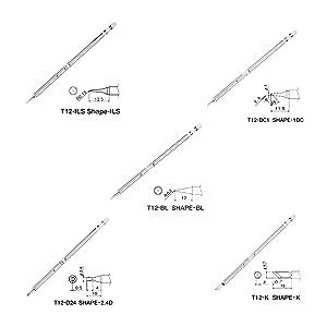 5 Pcs T12 Series Solder Iron Tips For Hakko FX951 BAKON 950D Soldering Station H15 (Tamaño: T12-ILS + T12-BC1 + T12-D24 + T12-K + T12-BL)