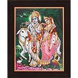 Avercart Lord Krishna / Shri Krishna With Radha / Symbol Of Divine Love / Sri Radha-Krishna Poster 8.5x11 Inch With Photo Frame (21x28 Cm Framed)