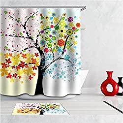 New Tree Pattern 3D Waterproof Polyester Shower Curtain With 12 Plastic Hooks Bathroom Use rideau douche cortina ducha Multi size Type 3 100cm wide180cm high