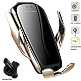 Wireless Car Charger Automatic Clamping Qi Fast Charging Car Charger Mount Compatible with iPhone 11/11Pro/11Pro Max/11/XS/XR/X/8/8p, Samsung S10/S10+/S9/S9+/S8/S8+ (Color: Gold + Black)