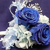 686【コサージュ】【結婚式、入学式、卒業式】プリザーブド・バラ ロイヤルブルー 2輪