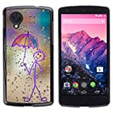 LECELL Protective Case Cover Skin For LG Google Nexus 5 D820 D821 ¡ï Happy Rain Window Painting ¡ï