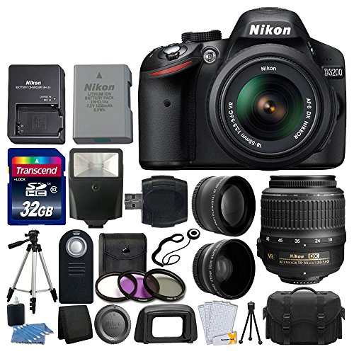 Nikon-D3200-242-MP-CMOS-Digital-SLR-Camera-Black-18-55mm-f35-56G-ED-II-AF-S-DX-Zoom-Autofocus-Lens-2x-Professional-Lens-HD-Wide-Angle-Lens-32GB-Bundle-International-Version-No-Warranty