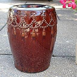 Brown Glazed Tasseled Drum Creamic Garden Stool