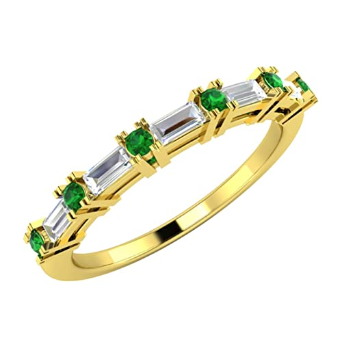 0.33 CT Natural Emerald and VS Diamond Eternity Womens Wedding Band / Anniversary Ring in 18K Solid Yellow Gold